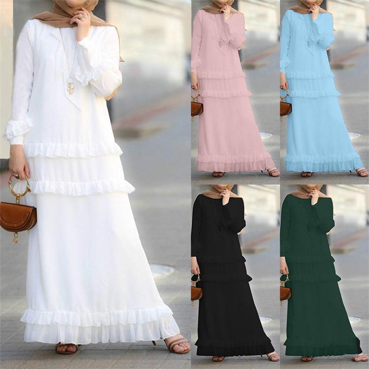 2019 New Arrival Elegent Fashion Style Autumn Muslim Women Plus Size Long Dress S-5XL