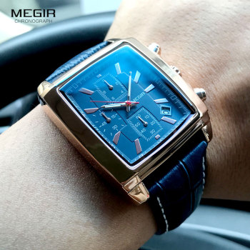 MEGIR Rectangle Dial Chronograph Quartz Watch for Men Luxury Blue Leather Strap Watches Waterproof Wristwatch Men Relogjo Reloj chronograph watch mens wallet gift set for male luxury wristwatch for men quartz leather strap wrist clock birthday gift reloj
