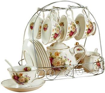 15 PCS First Class European  Ceramic Coffee Set Tea Set with Metal Holder,Cups,Saucers,Milk Jug,Coffee Pot,Sugar Bowl and Spoon
