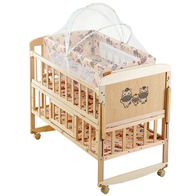 Crib Solid Wood Baby Cradle Bed Newborn Bb Small Bed Multi-function Movable Side Bed European Splicing Bed
