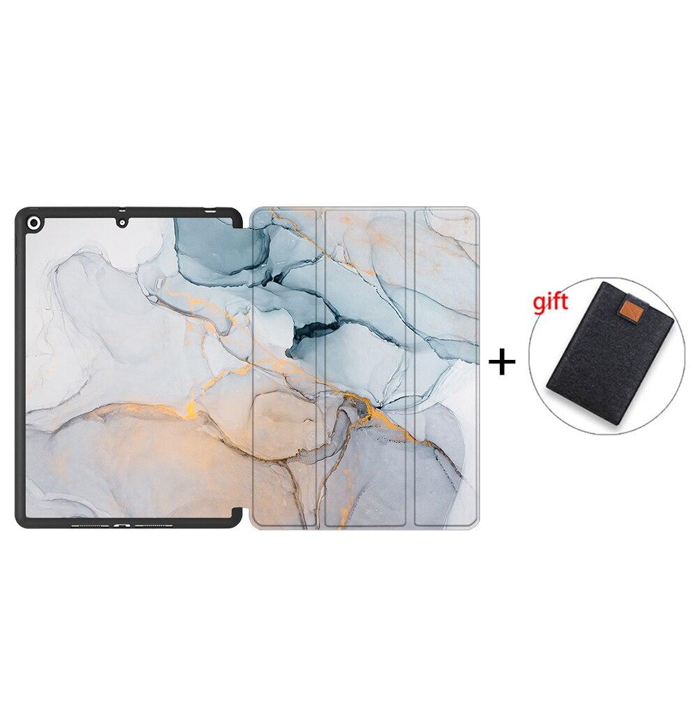 IPTPU17 Khaki MTT Case For iPad 10 2 inch 7th 8th Generation 2020 Soft TPU PU Leather Flip