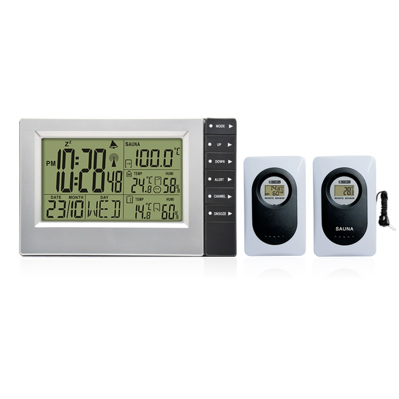 Wireless Weather Station with Indoor Outdoor Thermometer Hygrometer Sauna Sensor Large Display Alarm Clock 2 Transmitters