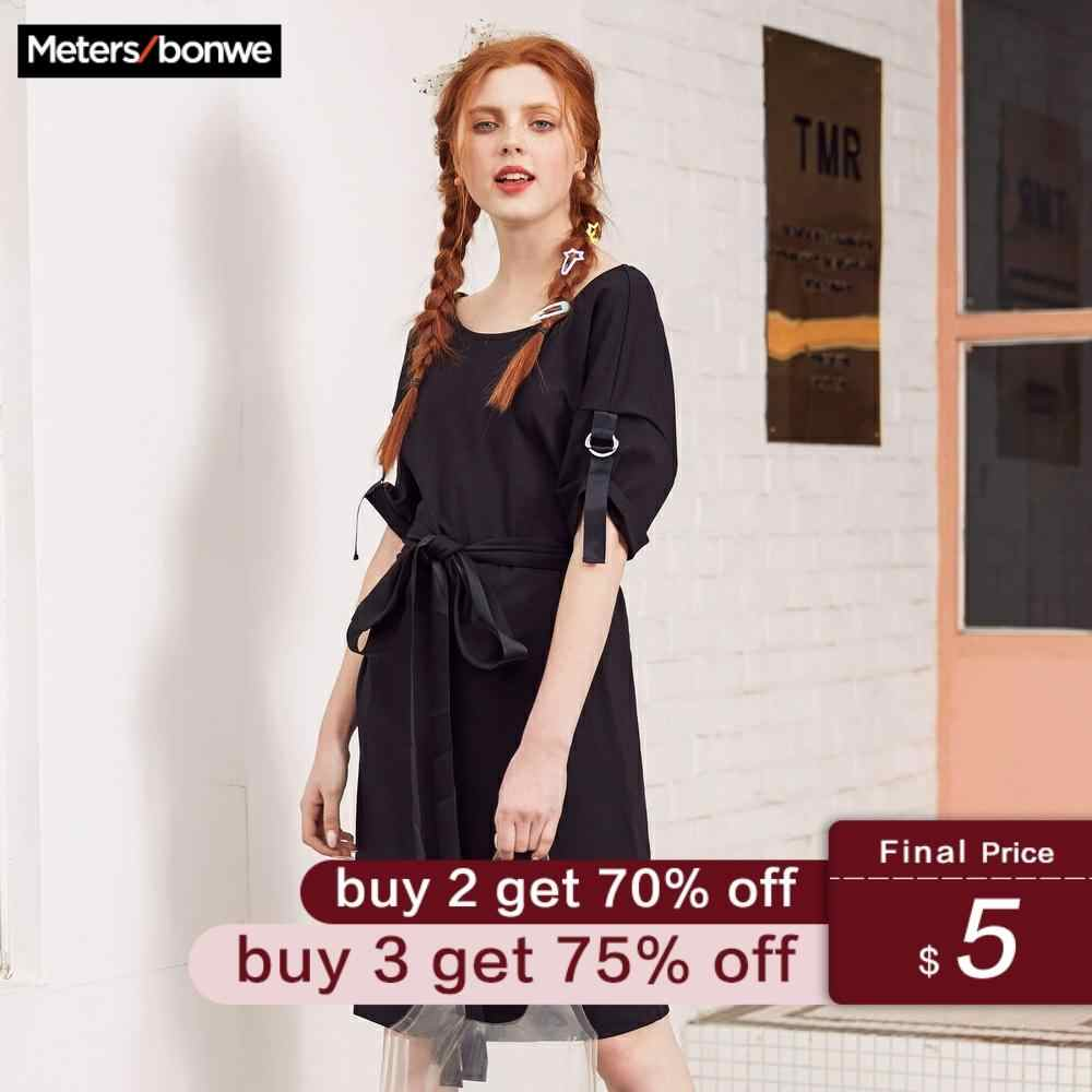 Metersbonwe Brand Dress Ladies Spring Summer Slim H-Line New Simple Kintted Dress Office Lady Dress Cute Dress Fashion Girls