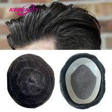 Mono NPU erkekler peruk saç sistemi postiş Remy hint İnsan saçı peruk nefes saç değiştirme ile doğal renk gri saç