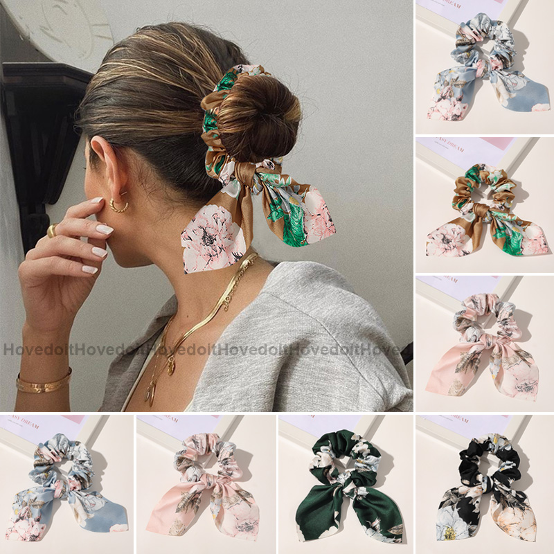 Hair-Bands Ponytail-Holder Scrunchies Elastic Chiffon Bowknot Girls Solid-Color Women