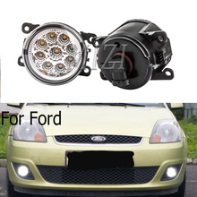 цена на 2pcs fog lights For Ford Focus MK2/3 Fusion Fiesta Tourneo Transit 2001-2015 with LED bulbs Fog Lamp Assembly Super Bright