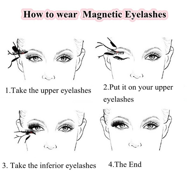 3D Magnetic Eyelashes with 3 Magnets Magnetic Lashes Natural Long False Eyelashes Magnet Eyelash Extension Makeup Tools 4