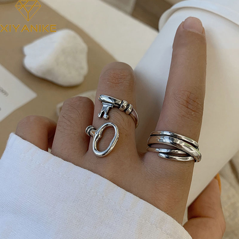 XIYANIKE 925 Sterling Silver New Creative Key Design Couples Rings Vintage Weaving Cross Handmade Jewelry Party Accessories Gift