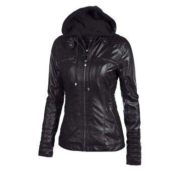 2020 New Women Autumn Winter Faux Soft Leather Jackets Coats Lady Black PU Zipper Epaule Motorcycle Streetwear Jacket 1