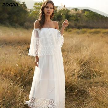 цена на ZOGAA Spring Summer White Lace Long Dress Off-the-shoulder Skirt Sexy Beach Holiday Skirt
