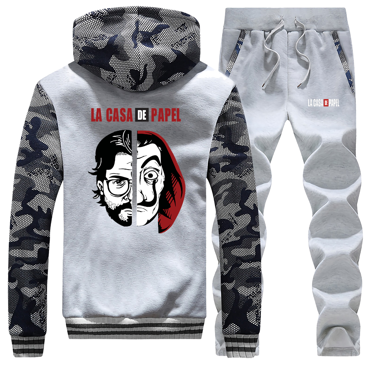 La Casa De Papel Hoodies Pants Set Men Tracksuit Coat Professor Sergio Marquina Winter Sportswear Thick Jacket Camo 2 Piece Sets