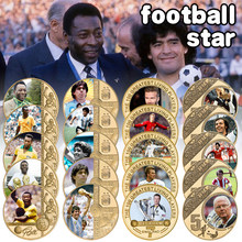 Soccer Player Maradona/Pele Gold Plated Commemorative Coin Set with Coin Holder Football Challenge Coins Souvenir Gift for Him