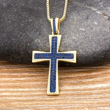 Cadena de oro colgante con Cruz de cristal azul, Gargantilla de circonio cúbico de cobre, 4 colores, joyas de religión, 2020
