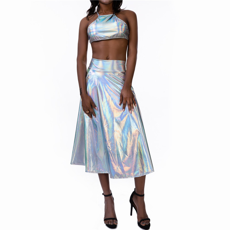 Shiny Pu Holographic 2 Piece Set <font><b>Bandage</b></font> Backless Crop <font><b>Tops</b></font> High Waist Midi Skirts <font><b>Sexy</b></font> Women Outfits Music <font><b>Festival</b></font> Clubwear image