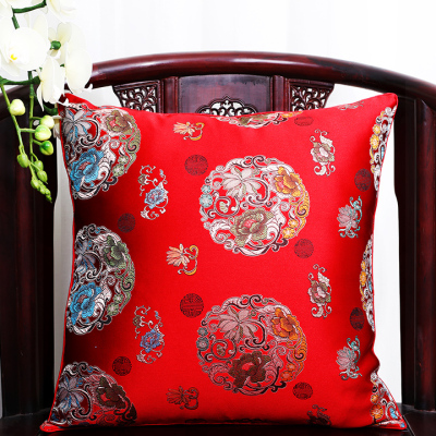Чехол для подушки для автомобильного стула с цветами 40x40 см 45x45 см 50*50 60*60 китайские красочные диванные Декоративные Чехлы для подушек, шелковая атласная наволочка - Цвет: red flower