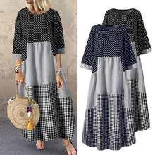 Casual xadrez kaftan vestido de verão feminino zanzea vestidos emendados impresso maxi o-pescoço férias boêmio vestidos robe femme plus size 5xl