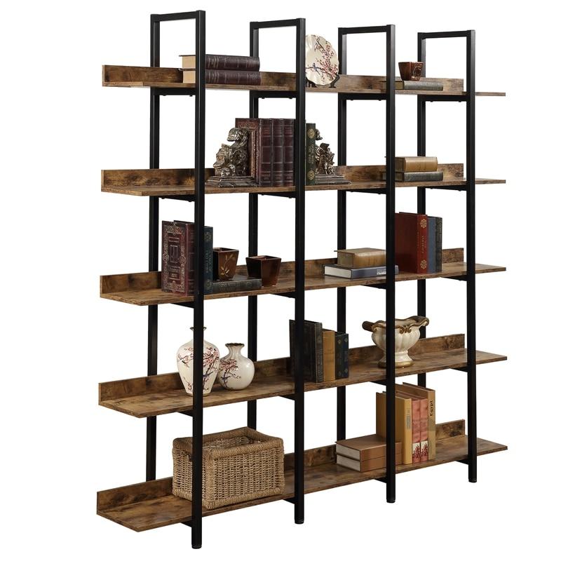 Home Office Rustikalen 5-Tiers Open Bücherregal, Vintage Industrie Große 5 Regal Bücherregal Möbel mit Zurück Zaun