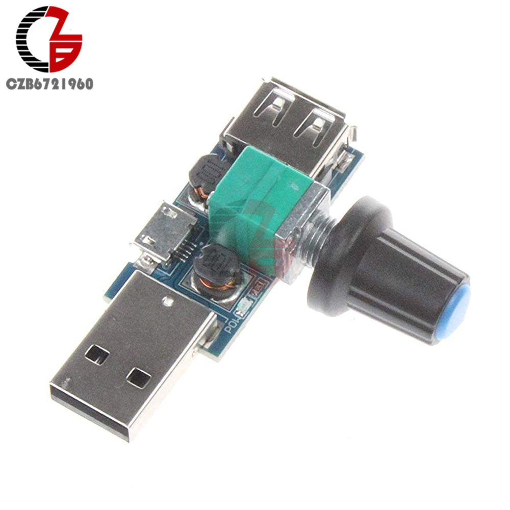 <font><b>5V</b></font> <font><b>USB</b></font> <font><b>Fan</b></font> Stepless Speed <font><b>Controller</b></font> Regulator with Switch Speed Module DC 4-12V to 2.5-8V 5W Motor Speed Regulator image