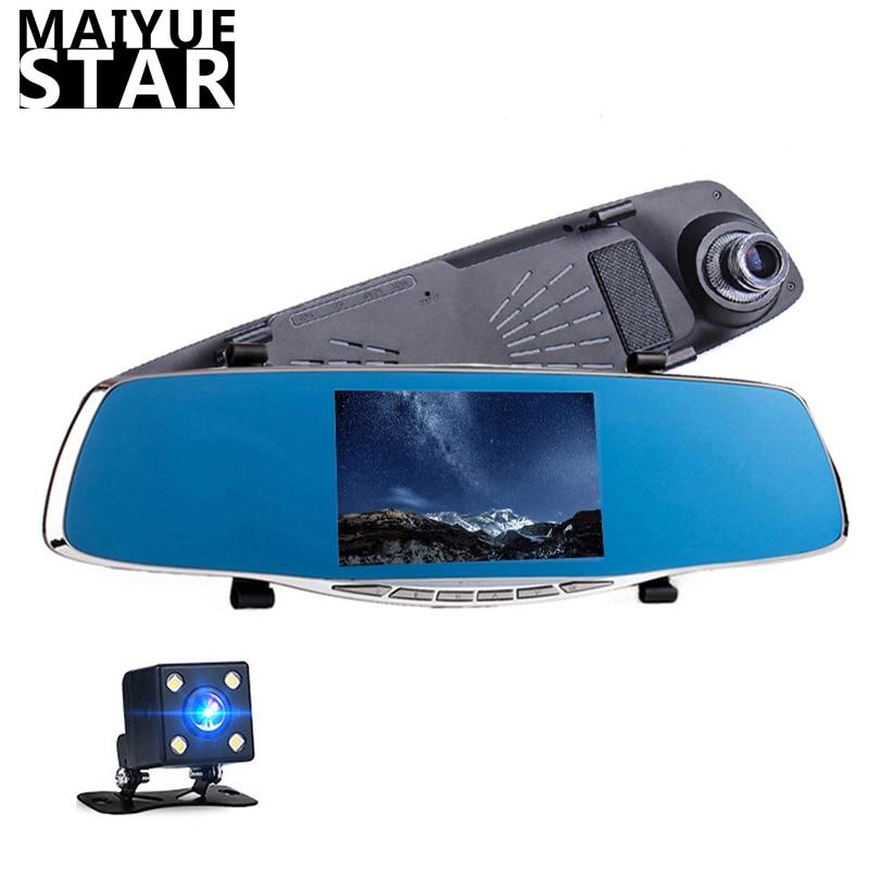 Car Camera Mirror Dvr Rearview-Mirror-Camera Night-Vision cam Dual-Lens Automatic Full-Hd