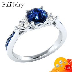Bali Jelry 925 Silver Rings with Sapphire Zircon Gemstones Jewelry Accessories for Women Wedding Engagement Ring Drop shipping