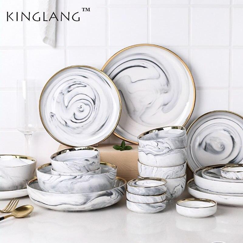 Vaisselle de table en céramique marbre doré | Style nordique léger de luxe, bol assiette bol assiette vaisselle ménage