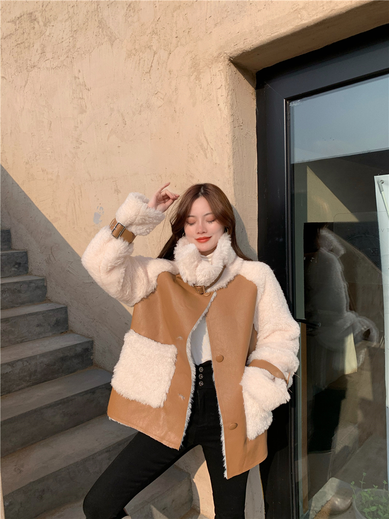 Hce56ccf7d3dd48508bff0ffad499fd96y Winter Women High Quality Fur Coat Loose Collar Design Integrated Long Splicing Single-breasted Cotton-padded Pocket Jackets