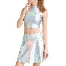 Seksi parlak kadın holografik balıkçı yaka kolsuz Tank Top metalik islak bak A-line Mini etek 2 parça Set Rave festivali giymek