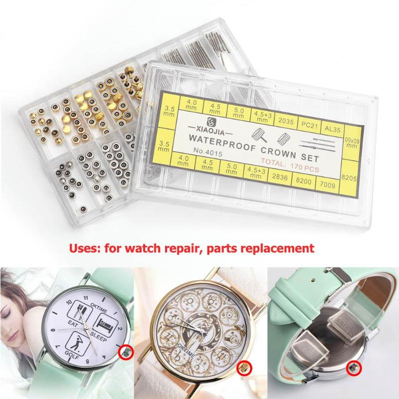 170pcs/box Watch Crown Parts Replacement Assorted Dome Flat Head Watch Accessories Repair Tool Kit Accessories Tool Kits
