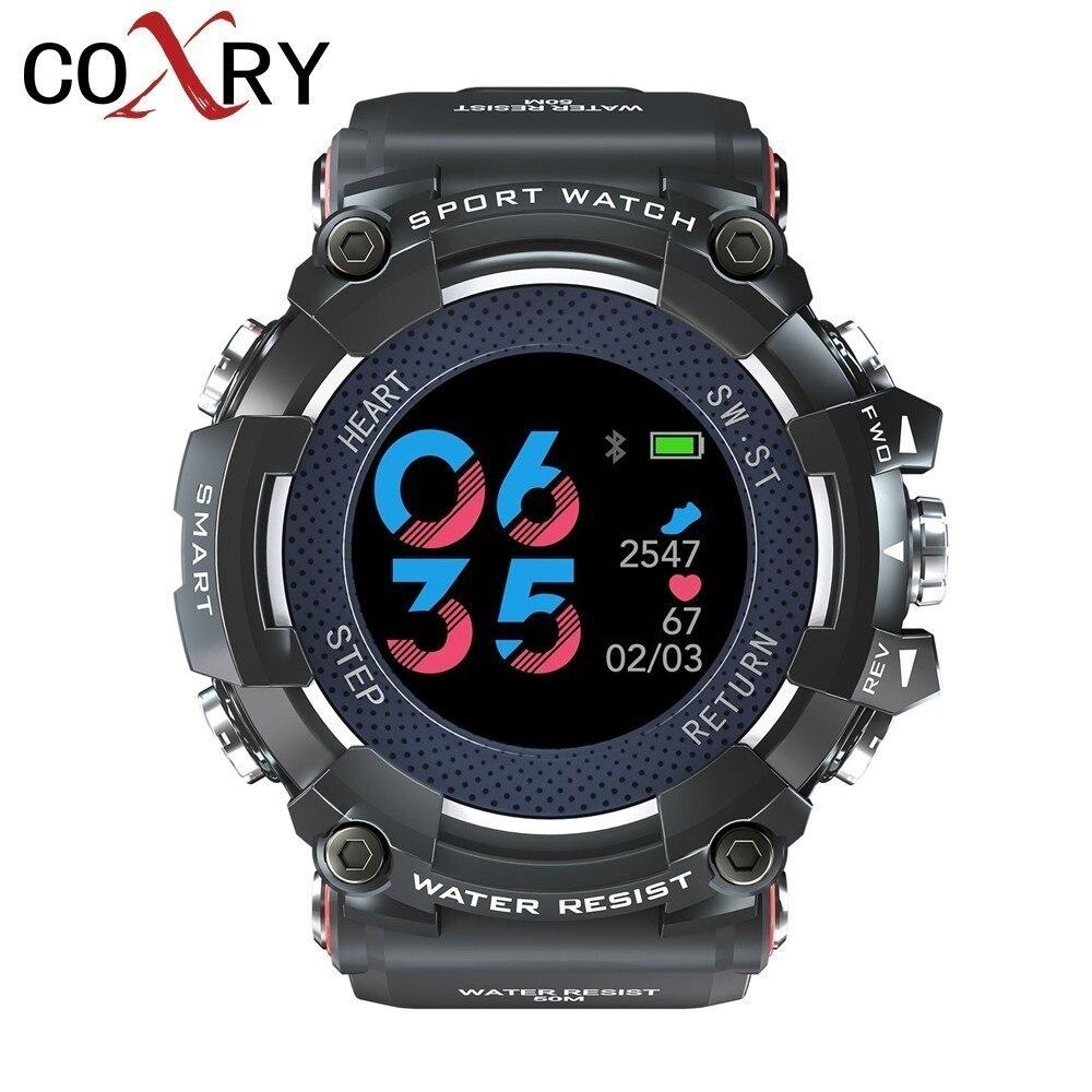 COXRY couleur écran montre intelligente Sport Ip68 étanche montre numérique hommes moniteur de fréquence cardiaque montres en cours d'exécution podomètre Smartwatch