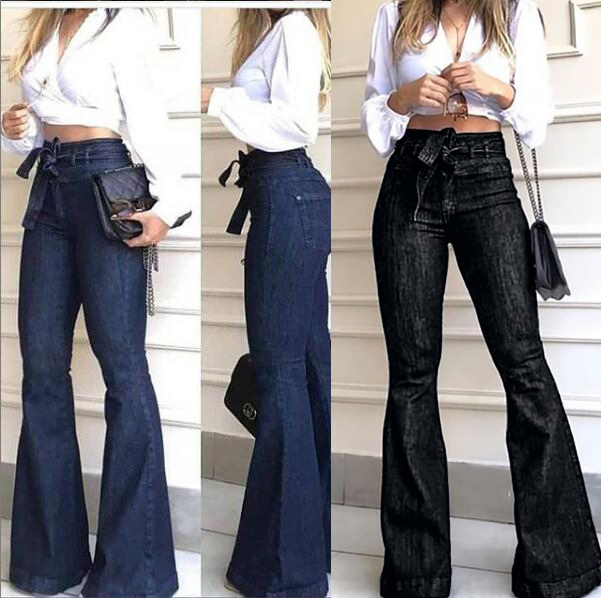 Women High Waist Bandage Wide Leg Denim Jeans Ladies Stretch Fare Long Pants