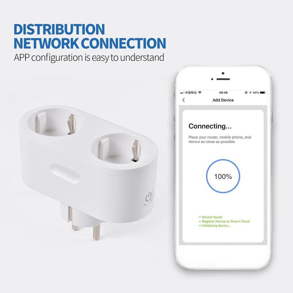 2019 New hot sales Multi-Function Wifi Double Plug Smart Socket Mobile Phone Remote Control Socket Home Intelligent Socket