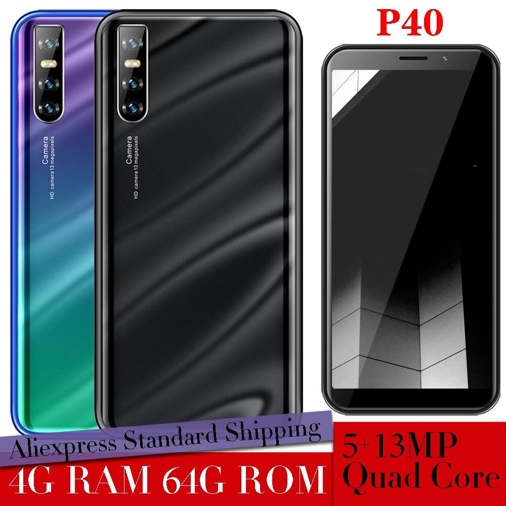P40 Smartphones Gezicht Id Unlocked Celulars 4G Ram 64G Rom 5MP + 13MP 6.0Inch Android Mobiele Telefoons quad Core Global Versie Wifi 3G