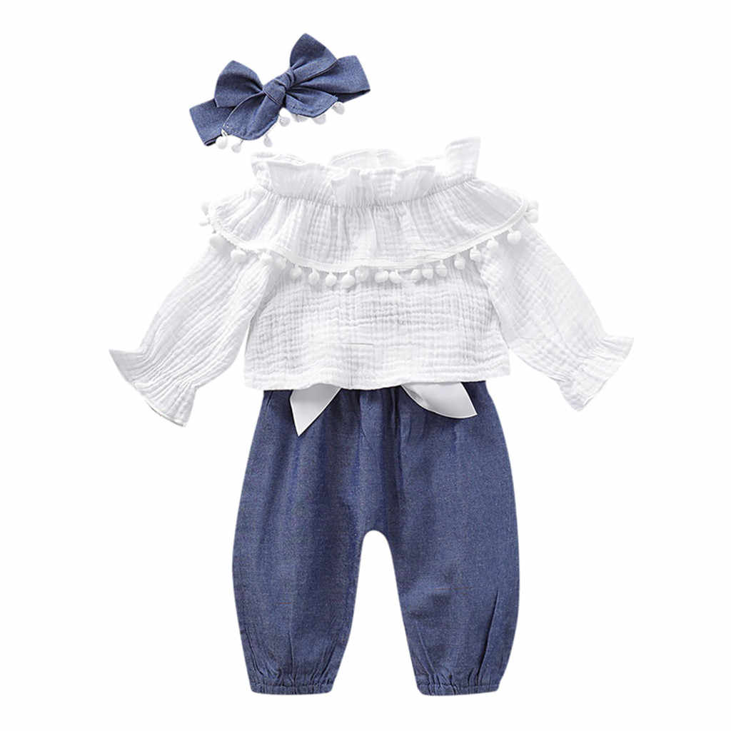 Newborn Baby Girls Clothes Kids Flare Sleeve Ruffles Cotton Linen Tops +Pants Toddler Infant Girls Outfits Set roupa infantil