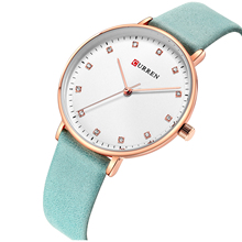 CURREN Female Watch Newest Ladies Wristwatch Rhinestone Creative Design Women Watches Trendy Leather Band Waterproof Reloj Mujer