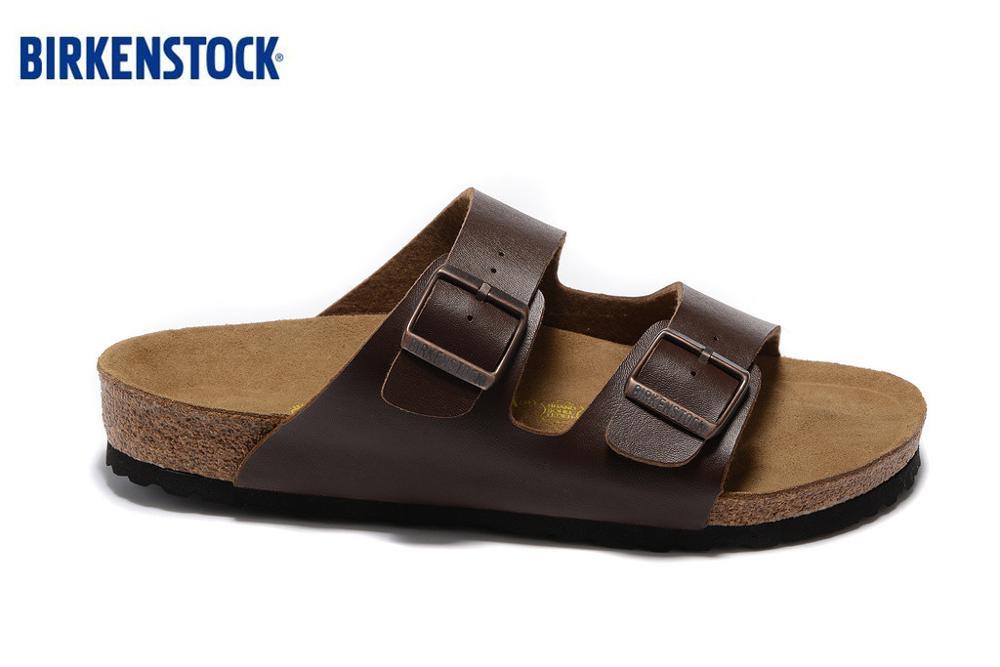 BIRKENSTOCK Arizona Beach Cork Slipper Flip Flops Men's Lazy Shoes Women Sandals Two Buckle Brown Leather Slippers Size :35-45