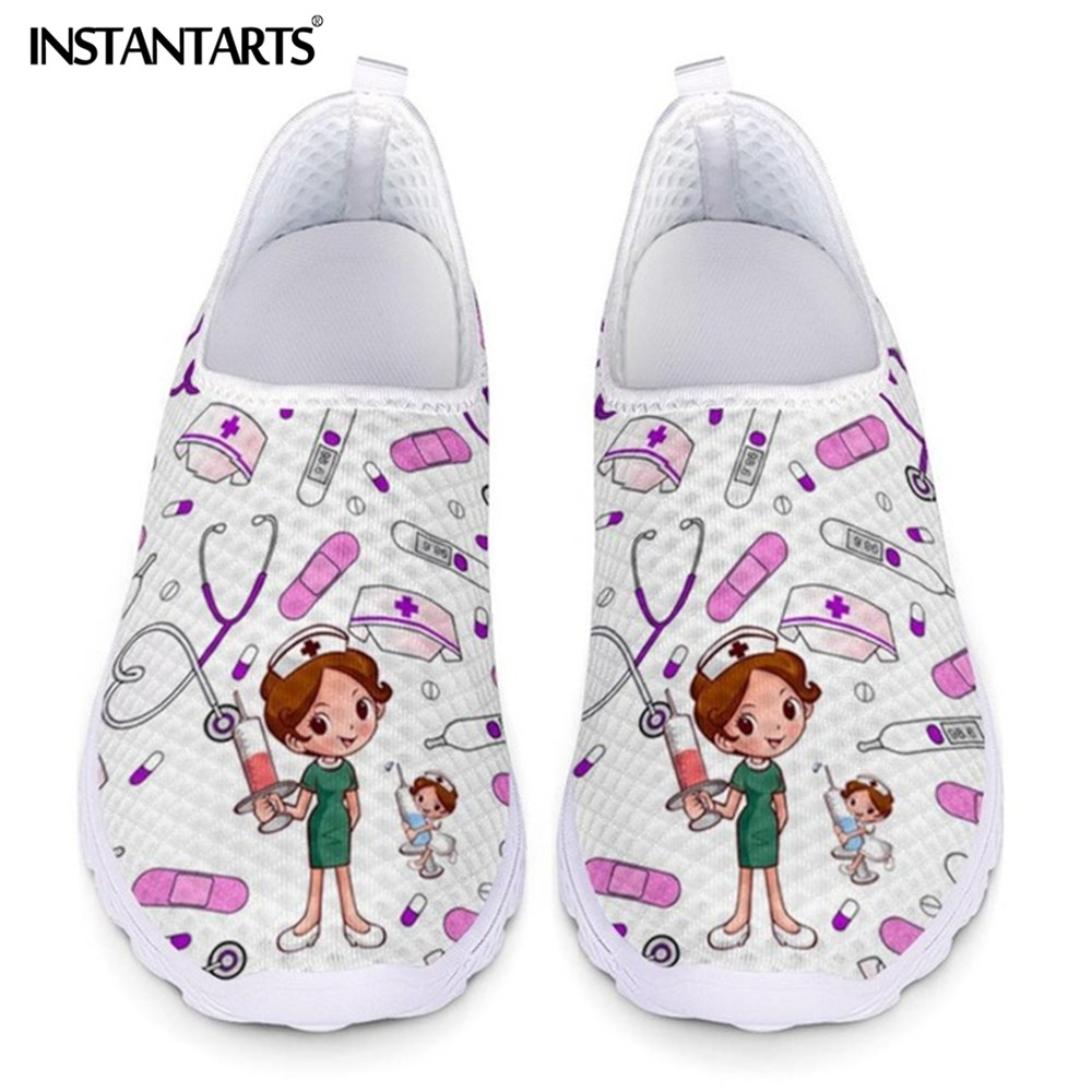 INSTANTARTS Cute Cartoon Nursing Doctor Surgery Printed Woman Flats Sneakers Mesh Nurse Shoes Women Light Weight Ladies Footwear