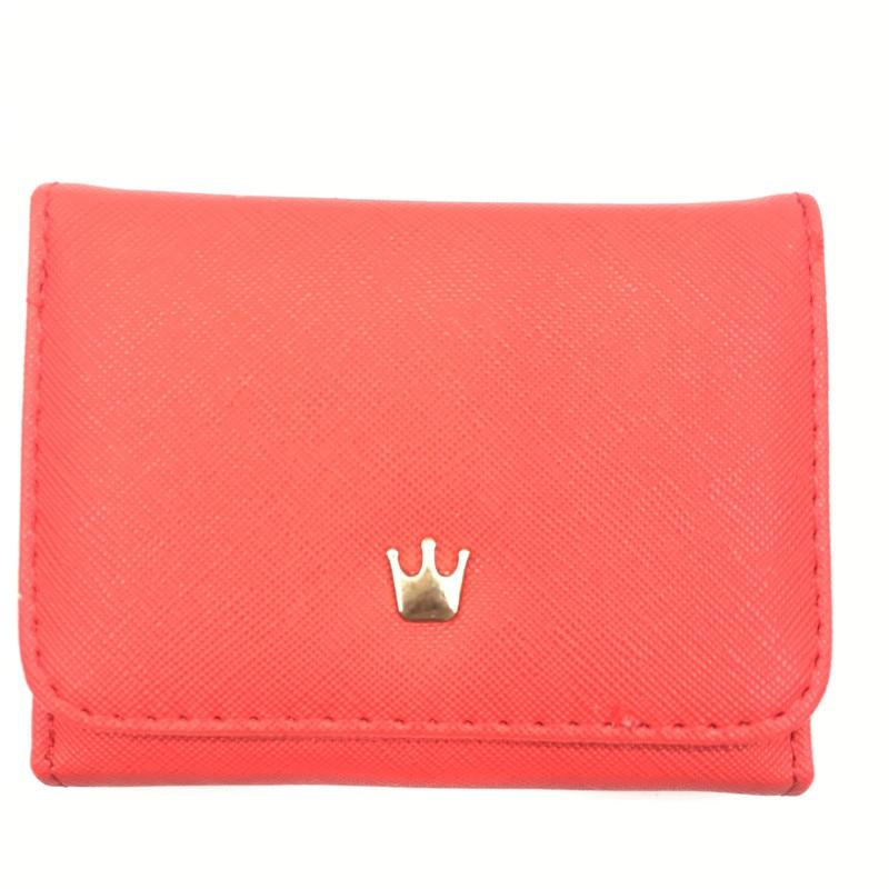 Женский маленький кошелек на молнии, женские короткие кошельки, украшенные короной, Мини кошельки для денег, складные кожаные женские портмоне, держатель для карт - Цвет: Red
