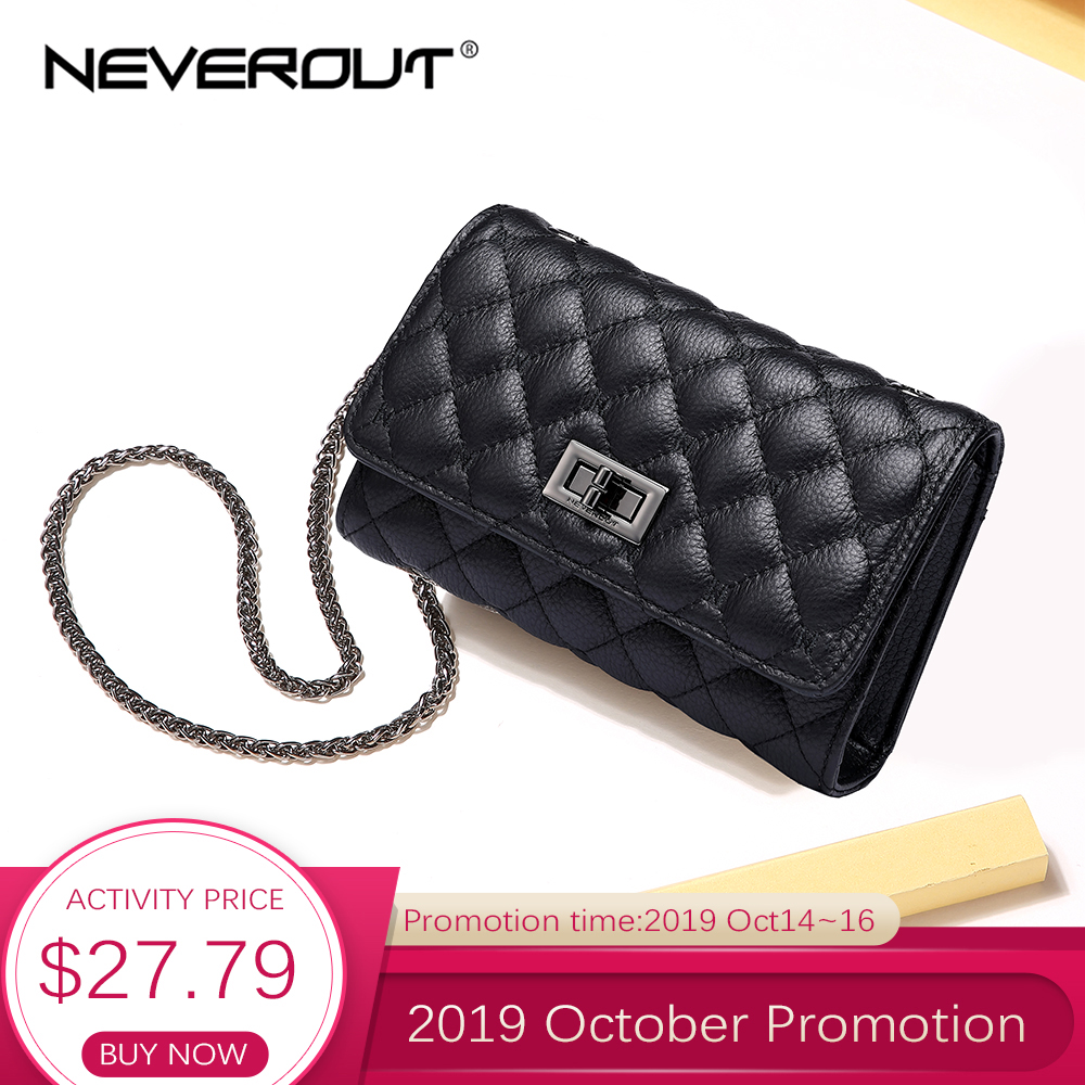 NEVEROUT Genuine Leather Shoulder Bag for Women Cell Phone Purse Crossbody Ladies Small Quilted Bag Sac a Main Messenger Bags-in Top-Handle Bags from Luggage & Bags