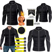 Sports Long sleeve Coat New Men Slim Waist Neoprene Workout Zipper Tops Sleeve Lose Weight Shapewear Fitness Control