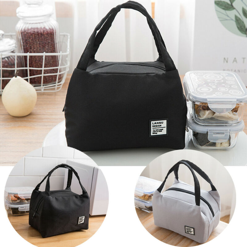 New Pure Color Lunch Bags For Women Kids Men Insulated Thermal Cooler Food Lunch Bags Waterproof Tote Picnic Food Bag