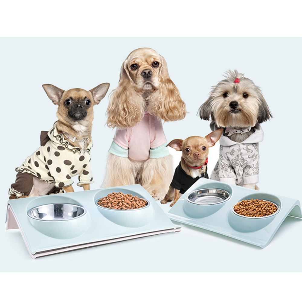 Double Dog Cat Bowls Stainless Steel Pet Food Water Feeder For Dog Puppy Cats Pets Supplies Feeding Dishes New