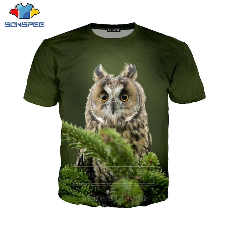 SONSPEE Owl T Shirt Summer New Women's Clothing 3D Print Animal Short Sleeve Funny Streetwear Casual Tops O Neck Mens T Shirts