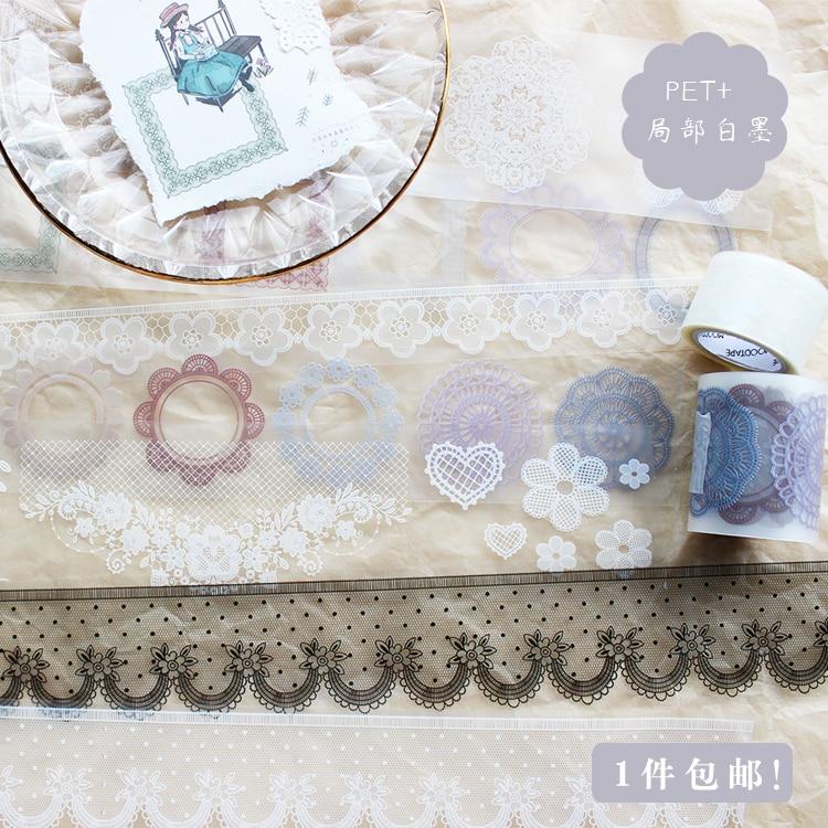 Moodtape  Washi Tape Pet Transparency Lace Wave Point Tape Scrapbooking Album Diy Handmade Decoration Sticker Masking Tape Paper