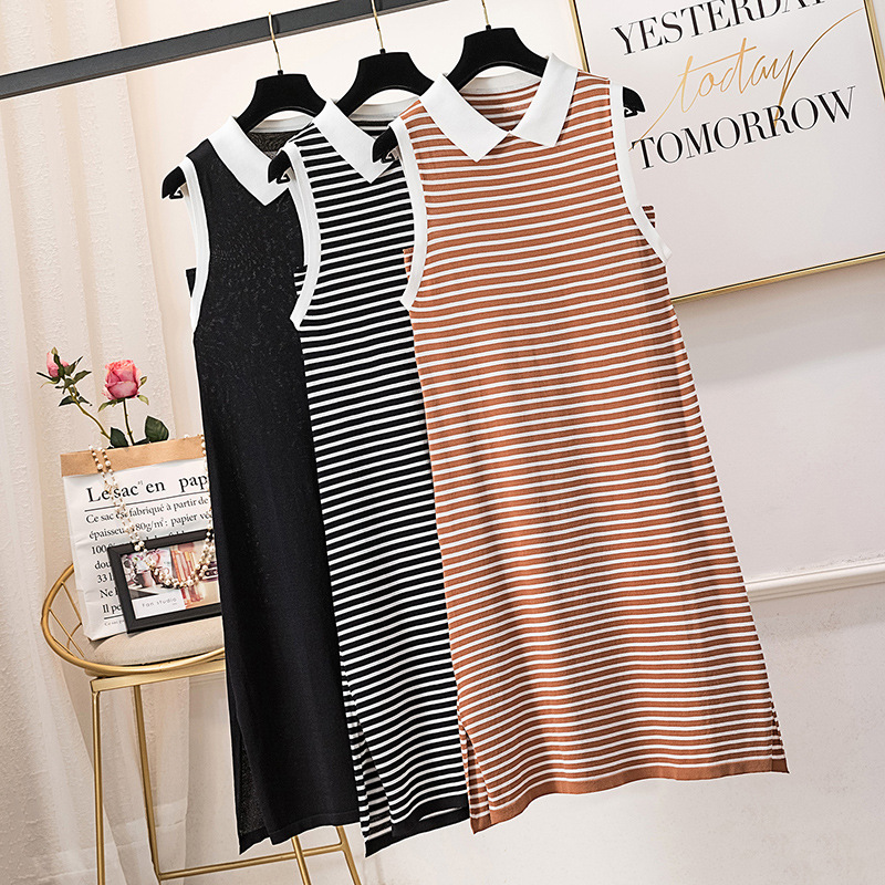 Large Size Dress Summer Small Fresh New Style Sleeveless Fold-down Collar Stripes Viscose Dress Fat Mm Mid-length Vest Skirt