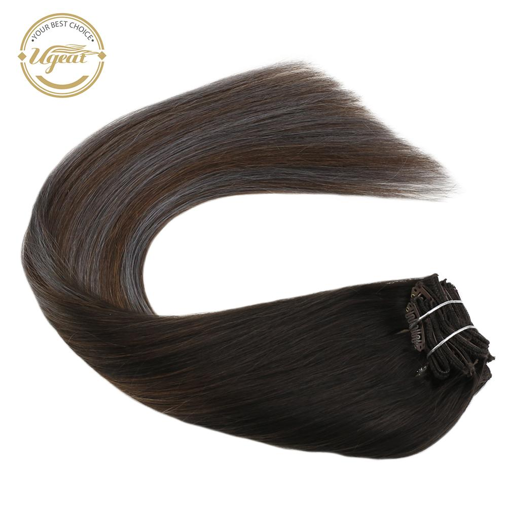 Clip On Extensions Real Human Hair Natural Straight 14-22inch Double Weft Machine Remy Clip In Hair Extensions 120g/set 10 Pcs