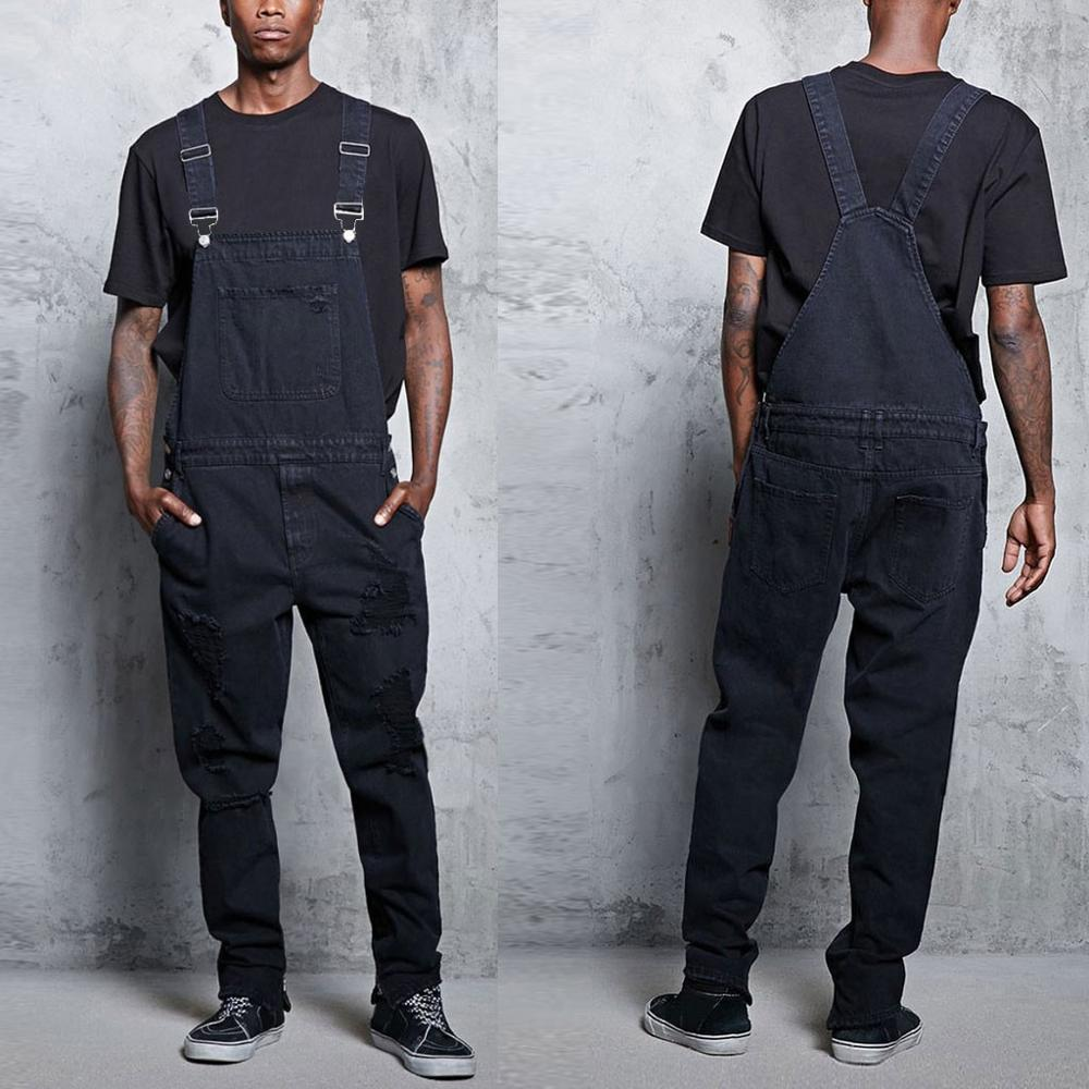 Men's Casual Jeans Denim Strap Ripped Jean Jumpsuit Loose Fitting Sleeveless Casual Overalls Dungarees Playsuit Suspender Pant#D