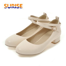 Women Pumps 3cm Low Square Block Heels Round Toe Mary Janes Black White Casual W
