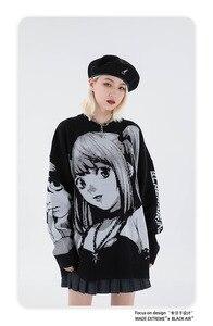 Y2k аниме свитер в стиле хип хоп E Гил тетрадь смерти Уличная свитер Харадзюку в винтажном стиле, в стиле ретро для девочек; Вязаный свитер; Сезон осень хлопковые пуловеры|Джемперы|   | АлиЭкспресс