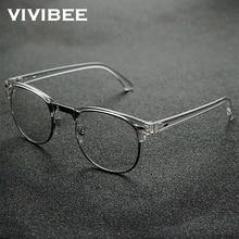 2021 Classic Transparent Frame Semi Rimless Blue Light Blockin Glasses Men Square Anti Blue Ray Eyeglasses Computer Women Gaming