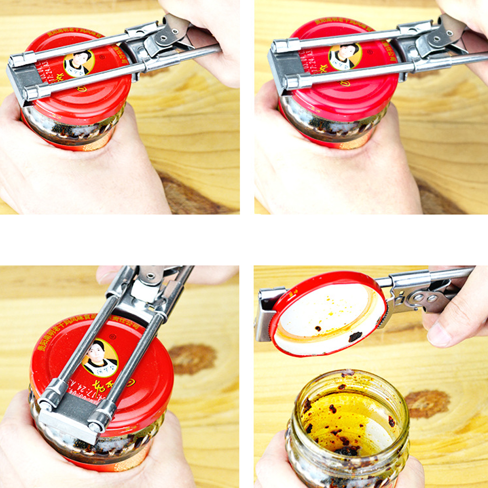 Stainless Steel Bottle And Jars Opener Adjustable Can Opener Multifunction Kitchen Accessory